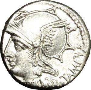obverse: M. Baebius Q. f. Tampilus.  AR Denarius, 137 BC. Obv. Helmeted head of Roma left, X below chin, TAMPIL behind. Rev. Apollo in quadriga right, ROMA below horses, M. BAEBI. Q. F. in exergue. Cr. 236/1. B.12. AR. g. 4.06  mm. 17.50   Excellent metal and full weight. Brilliant and superb. EF.