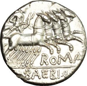 reverse: M. Baebius Q. f. Tampilus.  AR Denarius, 137 BC. Obv. Helmeted head of Roma left, X below chin, TAMPIL behind. Rev. Apollo in quadriga right, ROMA below horses, M. BAEBI. Q. F. in exergue. Cr. 236/1. B.12. AR. g. 4.06  mm. 17.50   Excellent metal and full weight. Brilliant and superb. EF.