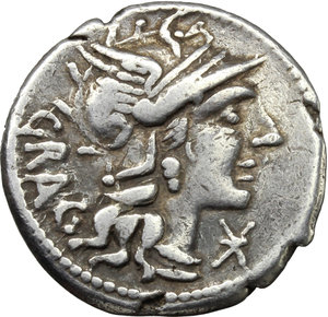 obverse: L. Antestius Gragulus.  AR Denarius, 136 BC. Obv. Helmeted head of Roma right; behind, GRAG; below chin, X;. Rev. Jupiter in quadriga right; below horses, L. ANTES; in exergue, ROMA. Cr. 238/1. B.9. AR. g. 3.89  mm. 20.00   Well centred on a broad flan. Brilliant and lightly toned. Good VF.
