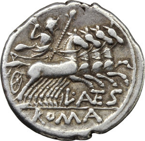 reverse: L. Antestius Gragulus.  AR Denarius, 136 BC. Obv. Helmeted head of Roma right; behind, GRAG; below chin, X;. Rev. Jupiter in quadriga right; below horses, L. ANTES; in exergue, ROMA. Cr. 238/1. B.9. AR. g. 3.89  mm. 20.00   Well centred on a broad flan. Brilliant and lightly toned. Good VF.
