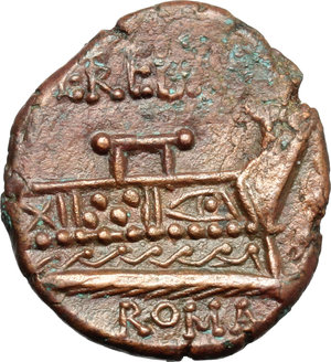reverse: L. Trebanius.  AE Quadrans, 135 BC. Obv. Head of Hercules right, wearing lion s skin; behind, three pellets. Rev. L. TREBANI. Prow right; before, three pellets; below, ROMA. Cr. 241/4. AE. g. 5.05  mm. 20.00  Scarce. A very nice example, sharply struck in high relief, from a fresh and well detailed dies. Chocolate-brown toning. About EF.