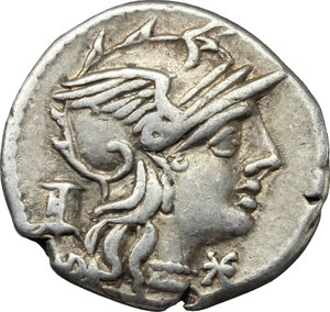 obverse: M. Marcius Mn. f.  AR Denarius, 134 BC. Obv. Helmeted head of Roma right; below chin, X; behind, modius. Rev. Victory in biga right; below, M MARC/ROMA divided by two corn-ears. Cr. 245/1. B. 8. AR. g. 3.78  mm. 19.00   Lightly toned. Good VF.