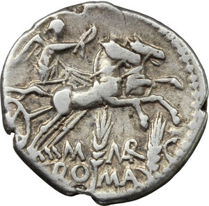 reverse: M. Marcius Mn. f.  AR Denarius, 134 BC. Obv. Helmeted head of Roma right; below chin, X; behind, modius. Rev. Victory in biga right; below, M MARC/ROMA divided by two corn-ears. Cr. 245/1. B. 8. AR. g. 3.78  mm. 19.00   Lightly toned. Good VF.