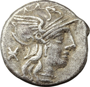 obverse: P. Maenius Antiaticus M. f.  AR Denarius, 132 BC. Obv. Helmeted head of Roma right; behind, X. Rev. Victory in quadriga right, holding reins and palm-branch in left hand and wreath in right hand; below, P. MAE ANT; in exergue, ROMA. Cr. 249/1. B. 7. AR. g. 3.80  mm. 18.00   Toned. VF.