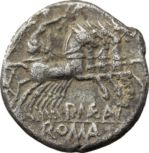reverse: P. Maenius Antiaticus M. f.  AR Denarius, 132 BC. Obv. Helmeted head of Roma right; behind, X. Rev. Victory in quadriga right, holding reins and palm-branch in left hand and wreath in right hand; below, P. MAE ANT; in exergue, ROMA. Cr. 249/1. B. 7. AR. g. 3.80  mm. 18.00   Toned. VF.