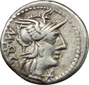 obverse: M. Vargunteius.  AR Denarius, 130 BC. Obv. Helmeted head of Roma right; behind, M. VARG; below chin, X. Rev. Jupiter in walking quadriga right; in exergue, ROMA. Cr. 257/1. B.1. AR. g. 3.80  mm. 20.00    Good VF.