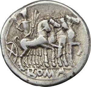 reverse: M. Vargunteius.  AR Denarius, 130 BC. Obv. Helmeted head of Roma right; behind, M. VARG; below chin, X. Rev. Jupiter in walking quadriga right; in exergue, ROMA. Cr. 257/1. B.1. AR. g. 3.80  mm. 20.00    Good VF.