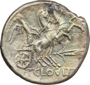 reverse: T. Cloelius.  AR Denarius, 128 BC. Obv. Helmeted head of Roma right; behind, wreath; below, ROMA. Rev. Victory in biga right; below horses, ear of corn; in exergue, T. CLOVLI. Cr. 260/1. B.1. AR. g. 3.74  mm. 21.00   Broad flan. Nicely toned with iridescent hues. Good VF.