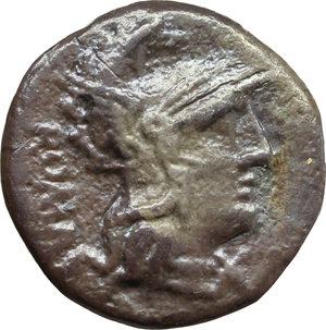 obverse: C. Caecilius Metellus Caprarius.  AR Denarius, 125 BC. Obv. Head of Roma right, wearing Phrygian helmet; behind, ROMA; below chin, X. Rev. Jupiter in biga of elephants left, Victory flies above; in exergue, C. METELLVS. Cr. 269/1. B. 14. AR. g. 3.73  mm. 17.50  Scarce. Old cabinet tone. About VF. This reverse refers the famous victory of L. Caecilius Metellus over the Chartaginians at Panormus in B.C. 251, when he captured all the enemy s elephants and later exhibited them in his triumph at Rome (RSC I, p. 20).