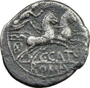 reverse: C. Cato.  AR Denarius. Obv. Helmeted head of Roma right, X behind. Rev. Victory in biga right; below horses, C. CATO; in exergue, ROMA. Cr. 274/1. AR. g. 3.59  mm. 19.00   Toned About VF.