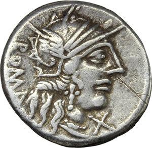 obverse: M. Fannius C. f.  AR Denarius, 123 BC. Obv. Helmeted head of Roma right; below chin, X; behind, ROMA. Rev. Victory in quadriga right; in exergue, M. FAN. C.F. Cr. 275/1. B.1. AR. g. 3.89  mm. 18.00    VF.
