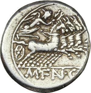 reverse: M. Fannius C. f.  AR Denarius, 123 BC. Obv. Helmeted head of Roma right; below chin, X; behind, ROMA. Rev. Victory in quadriga right; in exergue, M. FAN. C.F. Cr. 275/1. B.1. AR. g. 3.89  mm. 18.00    VF.