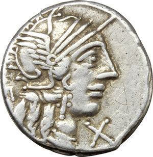 obverse: Q. Minucius Rufus.  AR Denarius, 122 BC. Obv. Helmeted head of Roma right; below chin, X; behind, ROMA. Rev. The Dioscuri galloping right; below horses, Q. MINV; in exergue, ROMA. Cr. 277/1. B. 1. AR. g. 3.85  mm. 18.00   Good metal. Brilliant and lightly toned. Good VF.