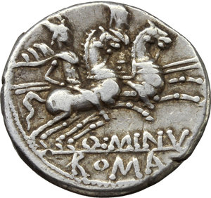reverse: Q. Minucius Rufus.  AR Denarius, 122 BC. Obv. Helmeted head of Roma right; below chin, X; behind, ROMA. Rev. The Dioscuri galloping right; below horses, Q. MINV; in exergue, ROMA. Cr. 277/1. B. 1. AR. g. 3.85  mm. 18.00   Good metal. Brilliant and lightly toned. Good VF.