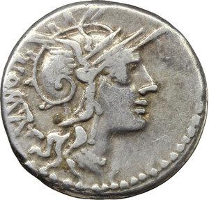 obverse: M. Tullius.  AR Denarius, 120 BC. Obv. Helmeted head of Roma right, ROMA behind. Rev. Victory in quadriga right; above, wreath; below horses, X; in exergue, M. TVLLI. Cr. 280/1. B. 1. AR. g. 3.81  mm. 19.50   Lightly toned. VF.