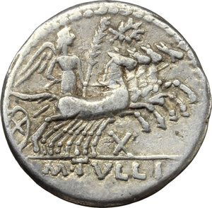 reverse: M. Tullius.  AR Denarius, 120 BC. Obv. Helmeted head of Roma right, ROMA behind. Rev. Victory in quadriga right; above, wreath; below horses, X; in exergue, M. TVLLI. Cr. 280/1. B. 1. AR. g. 3.81  mm. 19.50   Lightly toned. VF.