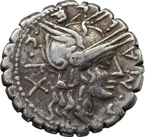 obverse: C. Malleolus C.f.  AR Denarius serratus, 118 BC. Obv. C. MALLE. C.F. and X around helmeted head of Roma right. Rev. Bituitus in biga right; in exergue, L. LIC. CN. DOM. Cr. 282/3. B. (Poblicia) 1. AR. g. 3.84  mm. 20.00   Brilliant and lightly toned. Good VF.