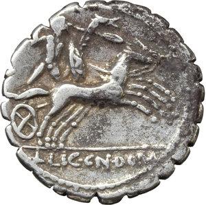 reverse: C. Malleolus C.f.  AR Denarius serratus, 118 BC. Obv. C. MALLE. C.F. and X around helmeted head of Roma right. Rev. Bituitus in biga right; in exergue, L. LIC. CN. DOM. Cr. 282/3. B. (Poblicia) 1. AR. g. 3.84  mm. 20.00   Brilliant and lightly toned. Good VF.