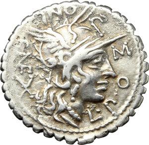obverse: L. Pomponius Cn. f.  AR Denarius serratus, 118 BC. Obv. Helmeted head of Roma right; behind, X; around, L. POMPONI CN F. Rev. Bituitus in biga right; in exergue, L. LIC. CN. DOM. Cr. 282/4 var. B. 7. AR. g. 3.81  mm. 20.00   Full flan; lightly toned Good VF/VF.