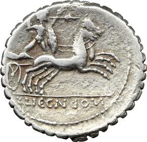reverse: L. Pomponius Cn. f.  AR Denarius serratus, 118 BC. Obv. Helmeted head of Roma right; behind, X; around, L. POMPONI CN F. Rev. Bituitus in biga right; in exergue, L. LIC. CN. DOM. Cr. 282/4 var. B. 7. AR. g. 3.81  mm. 20.00   Full flan; lightly toned Good VF/VF.