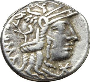 obverse: Marcus Calidius, Q. Metellus and Cn. Fulvius.  AR Denarius, 117-116 BC. Obv. Helmeted head of Roma right; below chin, X; behind, ROMA. Rev. Victory in biga right; below horses, M. CALID; in exergue, Q. MET. CNFL. Cr. 284/1 a. B.1. AR. g. 3.92  mm. 19.00    Good VF.