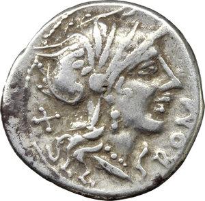 obverse: Cn. Domitius Ahenobarbus.  AR Denarius, 116-115 BC. Obv. Helmeted head of Roma right; behind, X; before, ROMA. Rev. Jupiter in walking quadriga right; in exergue, CN DOMI. Cr. 285/1; B. 7. AR. g. 3.81  mm. 20.00   Broad flan. Good VF.