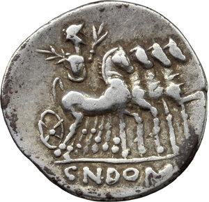reverse: Cn. Domitius Ahenobarbus.  AR Denarius, 116-115 BC. Obv. Helmeted head of Roma right; behind, X; before, ROMA. Rev. Jupiter in walking quadriga right; in exergue, CN DOMI. Cr. 285/1; B. 7. AR. g. 3.81  mm. 20.00   Broad flan. Good VF.