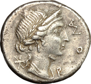 obverse: Man. Aemilius Lepidus.  AR Brockage Denarius, 114-113 BC. Obv. Laureate and diademed bust of Roma slightly draped right; before, ROMA; behind, X. Rev. Incuse of obverse. Cf. Cr. 291/1. Cf. B.7. AR. g. 3.74  mm. 18.00   A superb example, prettily toned. About EF.