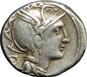 obverse: Appius Claudius Pulcher, T. Manlius Mancinus and Q. Urbinius.  AR Denarius, 111-110 BC. Obv. Helmeted head of Roma right; behind, quadrangular device. Rev. Victory in triga right; in exergue, AP. CL. T. MANL. Q. VR. Cr. 299/1 a. B.2. AR. g. 4.00  mm. 17.50   Good metal and full weight. Lightly toned. VF.
