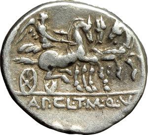 reverse: Appius Claudius Pulcher, T. Manlius Mancinus and Q. Urbinius.  AR Denarius, 111-110 BC. Obv. Helmeted head of Roma right; behind, quadrangular device. Rev. Victory in triga right; in exergue, AP. CL. T. MANL. Q. VR. Cr. 299/1 a. B.2. AR. g. 4.00  mm. 17.50   Good metal and full weight. Lightly toned. VF.