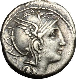obverse: Appius Claudius Pulcher, T. Manlius Mancinus and Q. Urbinius.  AR Denarius, 111-110 BC. Obv. Helmeted head of Roma right; behind, quadrangular device. Rev. Victory in triga right; in exergue, AP. CL. T. MANL. Q. VR. Cr. 299/1 a. B.2. AR. g. 3.84  mm. 17.00   Good metal. Brilliant and nicely toned. VF.