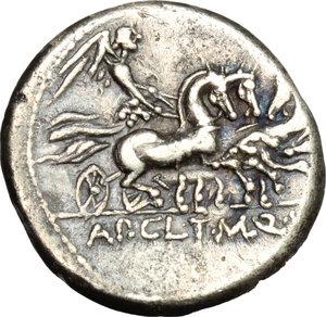 reverse: Appius Claudius Pulcher, T. Manlius Mancinus and Q. Urbinius.  AR Denarius, 111-110 BC. Obv. Helmeted head of Roma right; behind, quadrangular device. Rev. Victory in triga right; in exergue, AP. CL. T. MANL. Q. VR. Cr. 299/1 a. B.2. AR. g. 3.84  mm. 17.00   Good metal. Brilliant and nicely toned. VF.