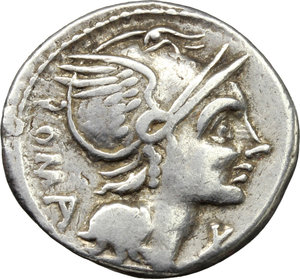 obverse: L. Flaminius Chilo.  AR Denarius, 109-108 BC. Obv. Helmeted head of Roma right; below chin, X; behind, ROMA. Rev. Victory in biga right; below horses, L. FLAMINI; in exergue, CILO. Cr. 302/1. B.1. AR. g. 4.03  mm. 19.00   A broad and over weight flan. Lightly toned. Good VF.