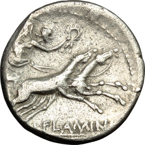 reverse: L. Flaminius Chilo.  AR Denarius, 109-108 BC. Obv. Head of Roma right; X below chin, ROMA behind. Rev. Victory in biga right; below horses, L. FLAMINI; [CILO] in exergue. Cr. 302/1. B. 1. AR. g. 3.69  mm. 19.00   Broad flan, nicely toned. VF.