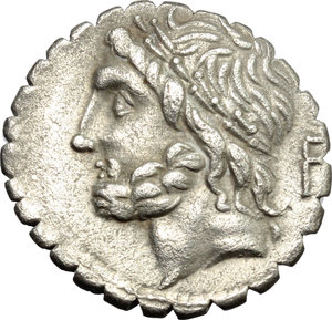 obverse: L. Scipio Asiagenus.  AR Denarius serratus, 106 BC. Obv. Laureate head of Jupiter left; behind, F. Rev. Jupiter in quadriga right; in exergue, L. SCIP. ASIAG. Cr. 311/1a. B. (Cornelia) 24. AR. g. 3.87  mm. 19.00   Minor porosity. Large flan, nicely toned. VF.