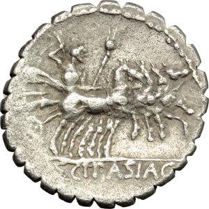 reverse: L. Scipio Asiagenus.  AR Denarius serratus, 106 BC. Obv. Laureate head of Jupiter left; behind, F. Rev. Jupiter in quadriga right; in exergue, L. SCIP. ASIAG. Cr. 311/1a. B. (Cornelia) 24. AR. g. 3.87  mm. 19.00   Minor porosity. Large flan, nicely toned. VF.