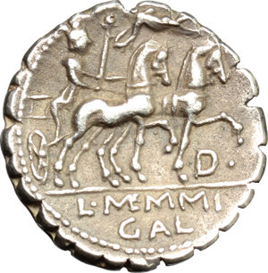 reverse: L. Memmius Galeria.  AR Denarius serratus, 106 BC. Obv. Laureate head of Saturn left; behind, harpa and ROMA. Rev. Venus in biga right, Cupid flies above; below the horse s leg, D and dot; in exergue, L. MEMMI/GAL. Cr. 313/1c. B.2. AR. g. 3.46  mm. 17.00   A very attractive example. Light old cabinet tone. Good VF.