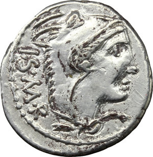 obverse: L. Thorius Balbus.  AR Denarius, 105 BC. Obv. Head of Juno of Lanuvium right, wearing goat s skin; behind, I.S.M.R. (Iuno Sispes Mater Regina). Rev. Bull charging right; above, D; below, L. THORIVS; in exergue, BALBVS. Cr. 316/1. B.1. AR. g. 4.01  mm. 20.00   Good metal. Well centred on a broad flan and brilliant. Good VF.