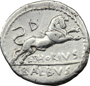 reverse: L. Thorius Balbus.  AR Denarius, 105 BC. Obv. Head of Juno of Lanuvium right, wearing goat s skin; behind, I.S.M.R. (Iuno Sispes Mater Regina). Rev. Bull charging right; above, D; below, L. THORIVS; in exergue, BALBVS. Cr. 316/1. B.1. AR. g. 4.01  mm. 20.00   Good metal. Well centred on a broad flan and brilliant. Good VF.