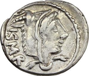 obverse: L. Thorius Balbus.  AR Denarius, 105 BC. Obv. Head of Juno of Lanuvium right, wearing goat s skin; behind, I.S.M.R. (Iuno Sispes Mater Regina). Rev. Bull charging right; above, Q; below, L. THORIVS; in exergue, BALBVS. Cr. 316/1. B.1. AR. g. 4.03  mm. 19.50   Full weight. VF.