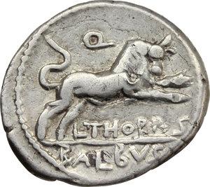 reverse: L. Thorius Balbus.  AR Denarius, 105 BC. Obv. Head of Juno of Lanuvium right, wearing goat s skin; behind, I.S.M.R. (Iuno Sispes Mater Regina). Rev. Bull charging right; above, Q; below, L. THORIVS; in exergue, BALBVS. Cr. 316/1. B.1. AR. g. 4.03  mm. 19.50   Full weight. VF.