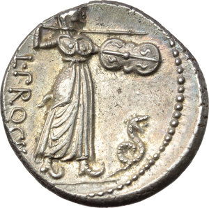 L. Procilius.  AR Denarius, 80 BC. Obv. Laureate head of Jupiter right; behind, S.C. Rev. Juno Sospita standing right, holding shield and hurling spear; at her feet, snake; behind, L. PROCILI/F. Cr. 379/1. B. 1. AR. g. 3.80  mm. 17.00   Enchanting light iridescent tone with underlying luster. Virtually as struck. About FDC.