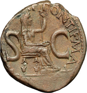 Tiberius (14-37).  AE As, 15-16 AD. Obv. TI CAESAR DIVI AVG [IMP VII]. Bare head left. Rev. PONTIF MAX[IM TRIBVN POTEST XVIII SC]. Livia seated right, holding patera and sceptre. RIC 34. C. 18. AE. g. 11.06  mm. 28.00  Scarce. An outstanding example, with a spectacular portrait. Lovely chocolate brown patina. About EF.