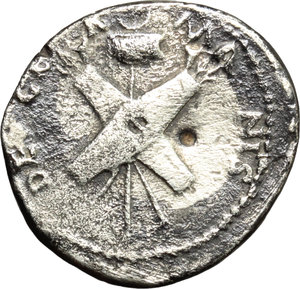 Nero Claudius Drusus, father of Claudius (died 9 AD).  AR Denarius, struck under Claudius, 41-45 AD. Obv. NERO CLAVDIVS DRVSVS GERMANICVS IMP. Laureate head left. Rev. DE GE-R-M-ANIS. Two shields, two pair of spears and two trumpets crossed over vexillum with flag. RIC (Claud.) 74. AR. g. 3.53  mm. 19.00  RR. Very rare. Toned. About VF.