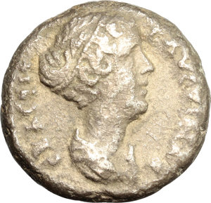 Faustina II, wife of Marcus Aurelius (died 176 AD).  BI Tetradrachm, Alexandria mint, Egypt. Obv. Draped bust right. Rev. Athena seated left, holding Nike and spear; in field, LI-Δ. Dattari 3261. K&G 38.57. BI. g. 12.39  mm. 22.00  R. Rare VF/Good VF.