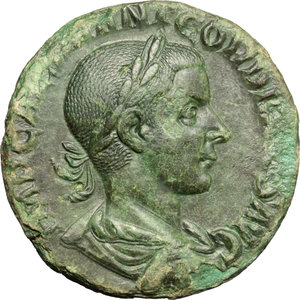 Gordian III (238-244 AD).  AE Sestertius, 240 AD. Obv. IMP CAES M ANT GORDIANVS AVG. Laureate, draped and cuirassed bust right. Rev. PM TR P II COS PP SC. Gordian, togate and veiled, standing left, sacrificing out of patera over altar; wand in left hand. RIC 271. C. 211. AE. g. 15.30  mm. 28.00   A spectacular portrait, of magnificent style. Superb green patina. Minor traces of corrosion on obverse, otherwise about EF.
