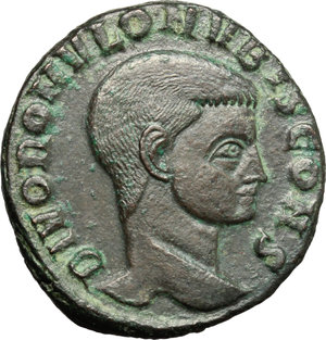 Romulus, son of Maxentius (died 309 AD).  AE Follis, Rome mint. Obv. DIVO ROMVLO NV BIS CONS, Bare head right. Rev. AETERNAE MEMORIAE. Domed shirne with doors ajar, surmounted by eagle; in exergue, RBP. RIC 207. AE. g. 6.04  mm. 23.00  R. Scarce and nice. Olive-green brown patina with light green highlights. Gently smoothed. Good VF.
