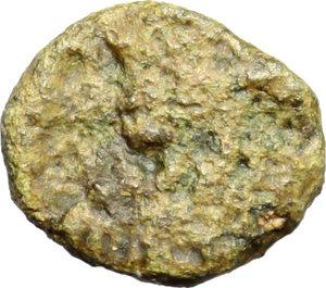 obverse: Ostrogothic Italy, Odovacar (476-493).  AE 10 mm. Ravenna mint. Obv. [ODO-VAC. Draped bust right]. Rev. Monogram within wreath. RIC X, 3502 (R3). Ranieri -. LRBC 588. MEC 64. Morello 22. AE. g. 0.84   RRR. Extremely rare. Obverse fair and illegible. Nice emerald green patina. Fair/VF.
