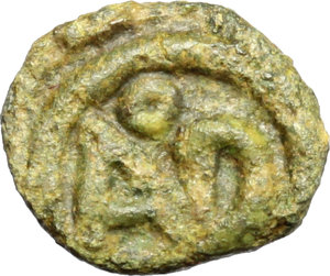reverse: Ostrogothic Italy, Odovacar (476-493).  AE 10 mm. Ravenna mint. Obv. [ODO-VAC. Draped bust right]. Rev. Monogram within wreath. RIC X, 3502 (R3). Ranieri -. LRBC 588. MEC 64. Morello 22. AE. g. 0.84   RRR. Extremely rare. Obverse fair and illegible. Nice emerald green patina. Fair/VF.