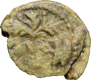reverse: Ostrogothic Italy, Athalaric (526-534).  AE Half Follis, Rome mint. Obv. INVICTA R[OMA]. Helmeted bust of Roma right. Rev. Fig tree between two standing eagles, with wings raised and heads reverted; in exergue, [XX]. Cf. Metlich 83. Cf. MEC 110-11. AE. g. 4.95  mm. 22.00  R. Rare. Broken. Emerald green patina. Good VF.